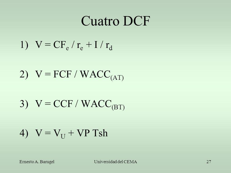 Ernesto A. BarugelUniversidad del CEMA27 Cuatro DCF 1)V = CF e / r e + I / r d 2)V = FCF / WACC (AT) 3)V = CCF / WACC (BT) 4)V = V U + VP Tsh