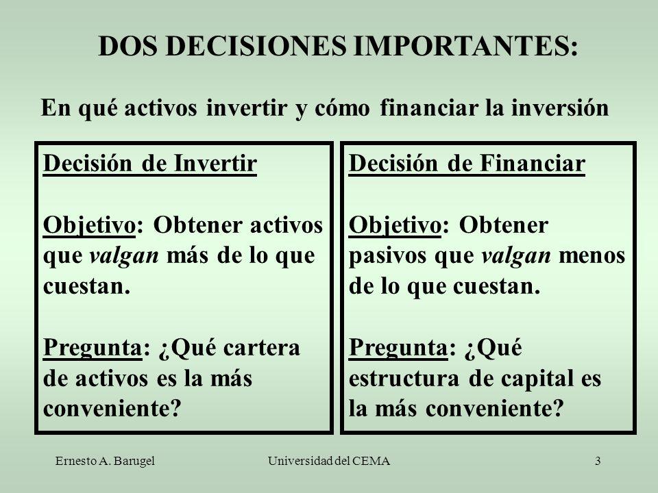 Ernesto A. BarugelUniversidad del CEMA3 Decisión de Invertir Objetivo: Obtener activos que valgan más de lo que cuestan. Pregunta: ¿Qué cartera de act