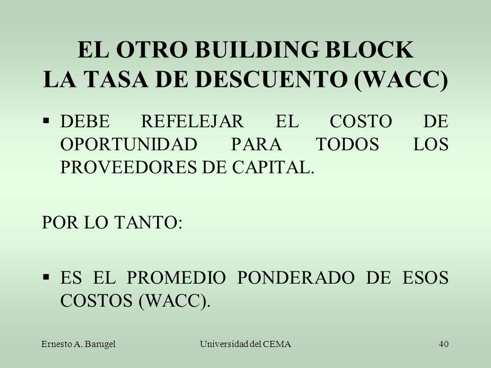 Ernesto A. BarugelUniversidad del CEMA40 EL OTRO BUILDING BLOCK LA TASA DE DESCUENTO (WACC) DEBE REFELEJAR EL COSTO DE OPORTUNIDAD PARA TODOS LOS PROV