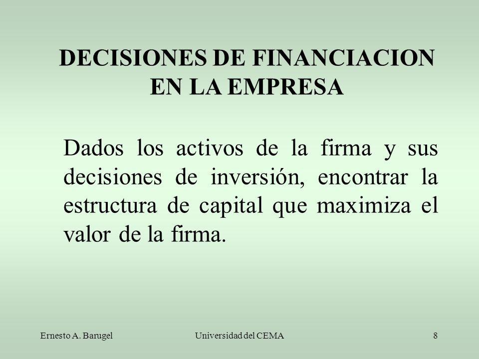 Ernesto A. BarugelUniversidad del CEMA8 Dados los activos de la firma y sus decisiones de inversión, encontrar la estructura de capital que maximiza e