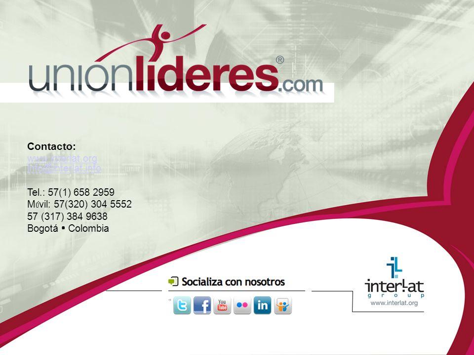 Contacto: www.interlat.org info@interlat.info Tel.: 57(1) 658 2959 M ó vil: 57(320) 304 5552 57 (317) 384 9638 Bogotá Colombia