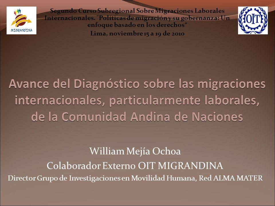 William Mejía Ochoa Colaborador Externo OIT MIGRANDINA Director Grupo de Investigaciones en Movilidad Humana, Red ALMA MATER Segundo Curso Subregional Sobre Migraciones Laborales Internacionales.
