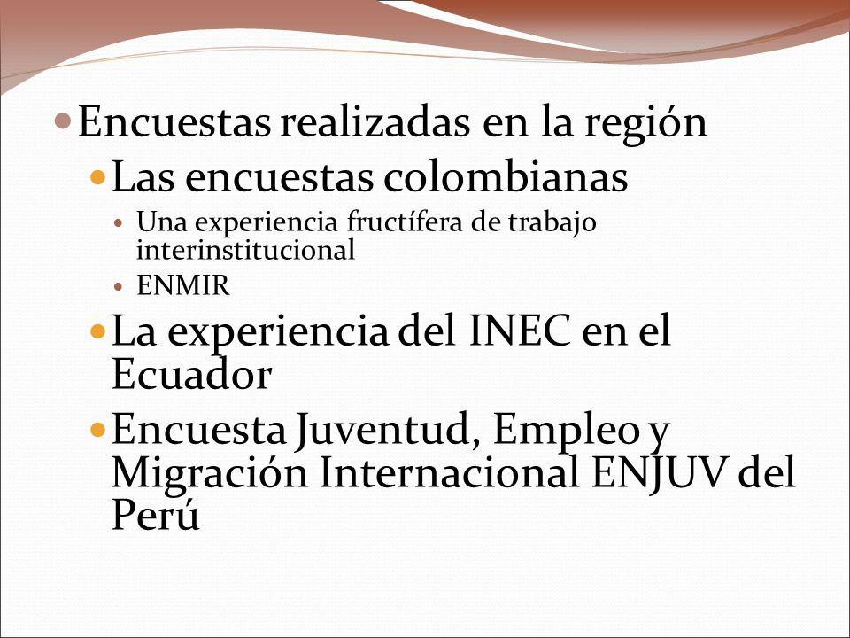 Encuestas realizadas en la región Las encuestas colombianas Una experiencia fructífera de trabajo interinstitucional ENMIR La experiencia del INEC en el Ecuador Encuesta Juventud, Empleo y Migración Internacional ENJUV del Perú