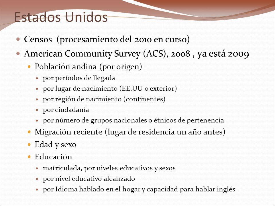 Estados Unidos Censos (procesamiento del 2010 en curso) American Community Survey (ACS), 2008, ya está 2009 Población andina (por origen) por períodos de llegada por lugar de nacimiento (EE.UU o exterior) por región de nacimiento (continentes) por ciudadanía por número de grupos nacionales o étnicos de pertenencia Migración reciente (lugar de residencia un año antes) Edad y sexo Educación matriculada, por niveles educativos y sexos por nivel educativo alcanzado por Idioma hablado en el hogar y capacidad para hablar inglés