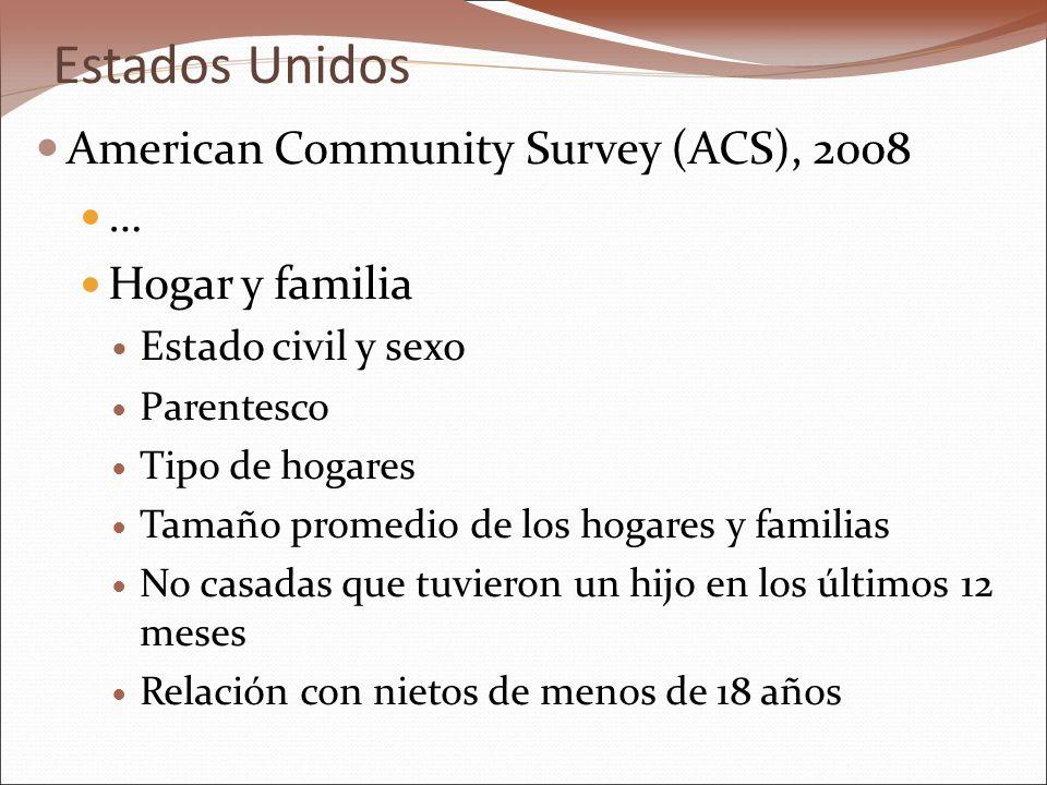 Estados Unidos American Community Survey (ACS), 2008 … Hogar y familia Estado civil y sexo Parentesco Tipo de hogares Tamaño promedio de los hogares y familias No casadas que tuvieron un hijo en los últimos 12 meses Relación con nietos de menos de 18 años
