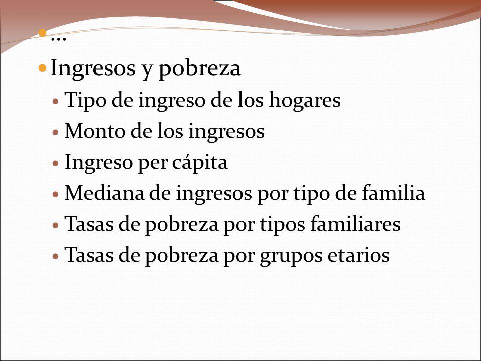 … Ingresos y pobreza Tipo de ingreso de los hogares Monto de los ingresos Ingreso per cápita Mediana de ingresos por tipo de familia Tasas de pobreza
