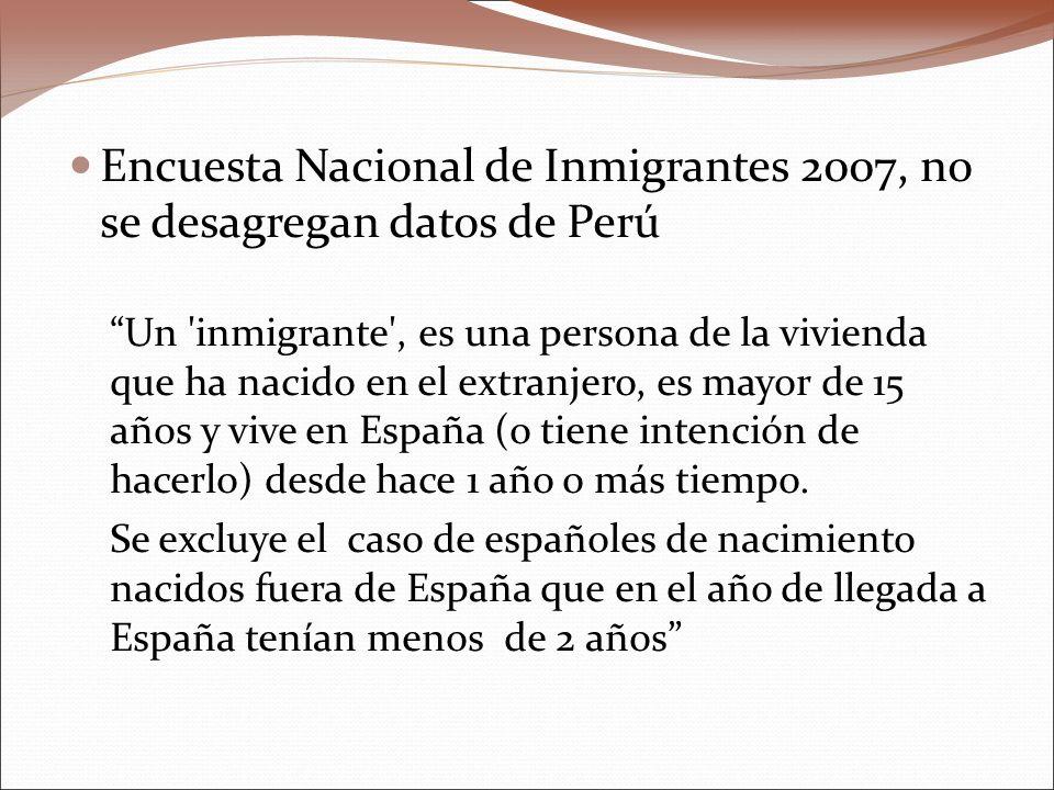 Encuesta Nacional de Inmigrantes 2007, no se desagregan datos de Perú Un inmigrante , es una persona de la vivienda que ha nacido en el extranjero, es mayor de 15 años y vive en España (o tiene intención de hacerlo) desde hace 1 año o más tiempo.