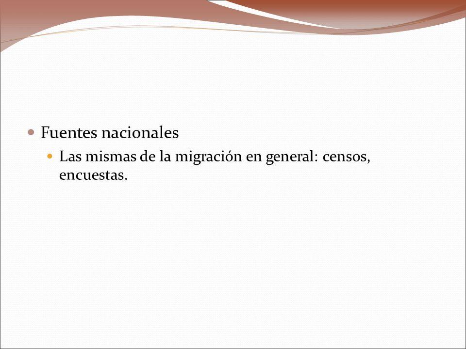 Fuentes nacionales Las mismas de la migración en general: censos, encuestas.