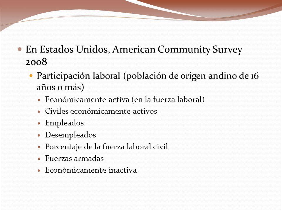 En Estados Unidos, American Community Survey 2008 Participación laboral (población de origen andino de 16 años o más) Económicamente activa (en la fuerza laboral) Civiles económicamente activos Empleados Desempleados Porcentaje de la fuerza laboral civil Fuerzas armadas Económicamente inactiva