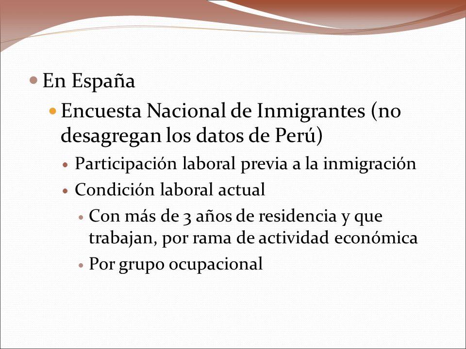 En España Encuesta Nacional de Inmigrantes (no desagregan los datos de Perú) Participación laboral previa a la inmigración Condición laboral actual Con más de 3 años de residencia y que trabajan, por rama de actividad económica Por grupo ocupacional