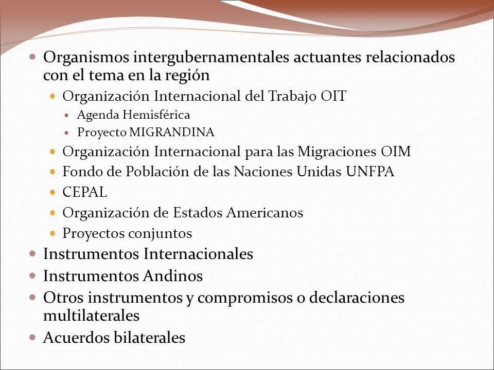Organismos intergubernamentales actuantes relacionados con el tema en la región Organización Internacional del Trabajo OIT Agenda Hemisférica Proyecto