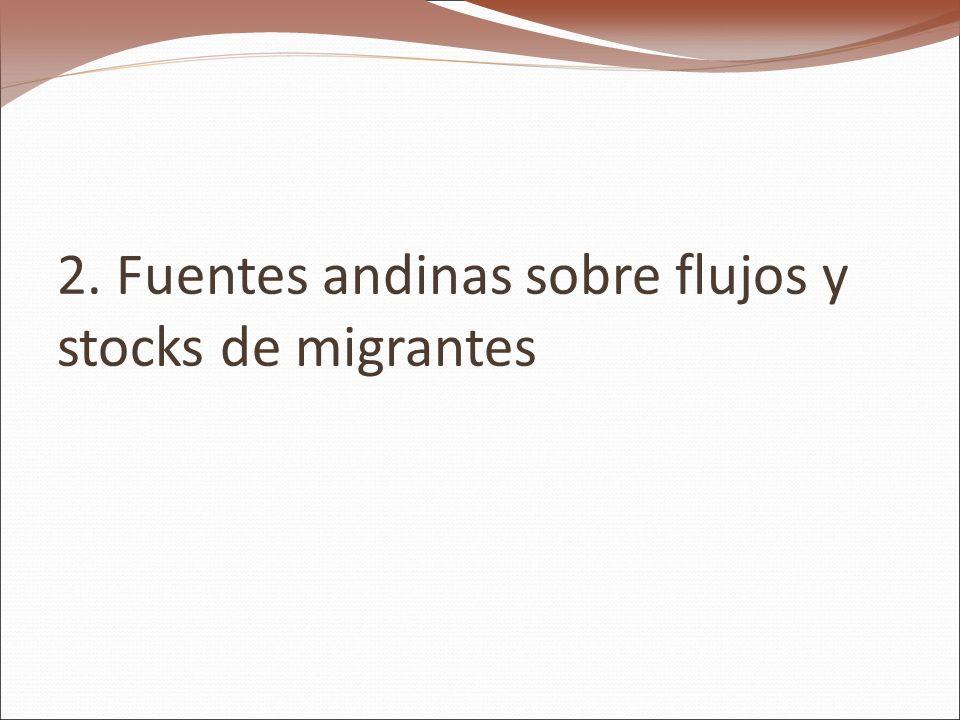 2. Fuentes andinas sobre flujos y stocks de migrantes
