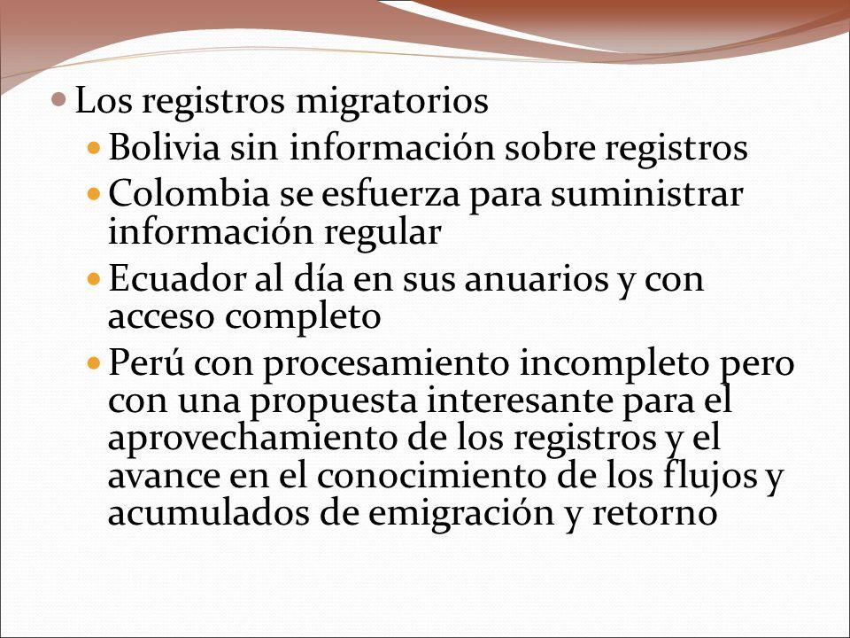 Los registros migratorios Bolivia sin información sobre registros Colombia se esfuerza para suministrar información regular Ecuador al día en sus anuarios y con acceso completo Perú con procesamiento incompleto pero con una propuesta interesante para el aprovechamiento de los registros y el avance en el conocimiento de los flujos y acumulados de emigración y retorno
