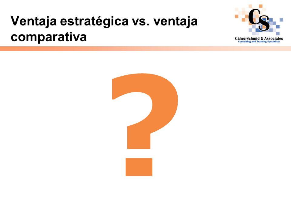 Ventaja estratégica vs. ventaja comparativa ?