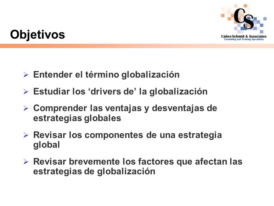 Objetivos Entender el término globalización Estudiar los drivers de la globalización Comprender las ventajas y desventajas de estrategias globales Rev