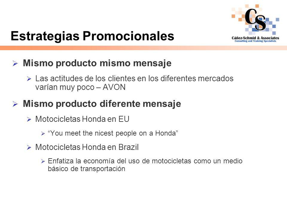 Estrategias Promocionales Mismo producto mismo mensaje Las actitudes de los clientes en los diferentes mercados varían muy poco – AVON Mismo producto