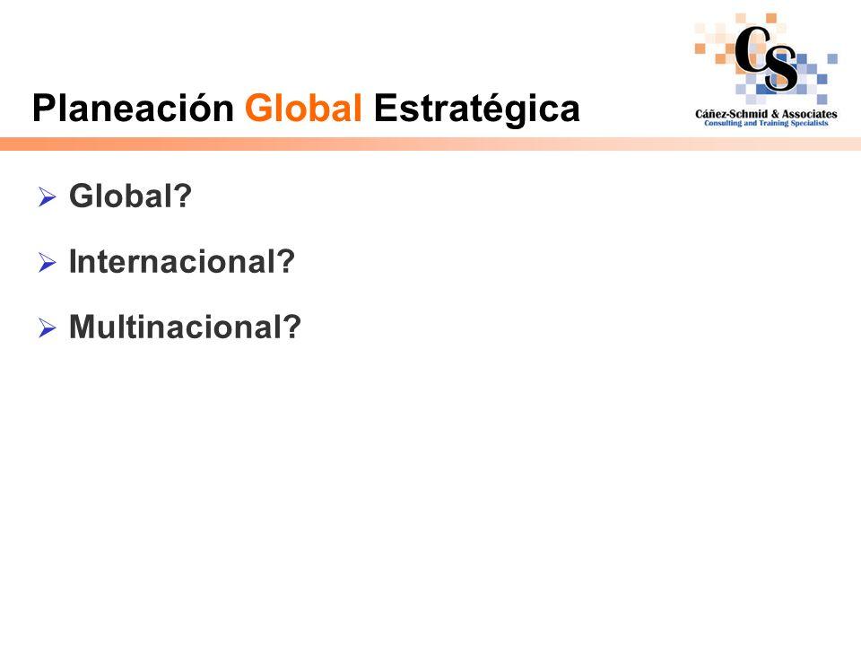 Planeación Global Estratégica Estrategia internacional – hacer negocio fuera del país Multi-local (multi-national) – es una estrategia internacional que trata la estrategia de cada país de manera independiente Global – es una estrategia internacional la cual tiene un enfoque integrado para todos los países en donde tiene presencia; integra y estandariza sus operaciones