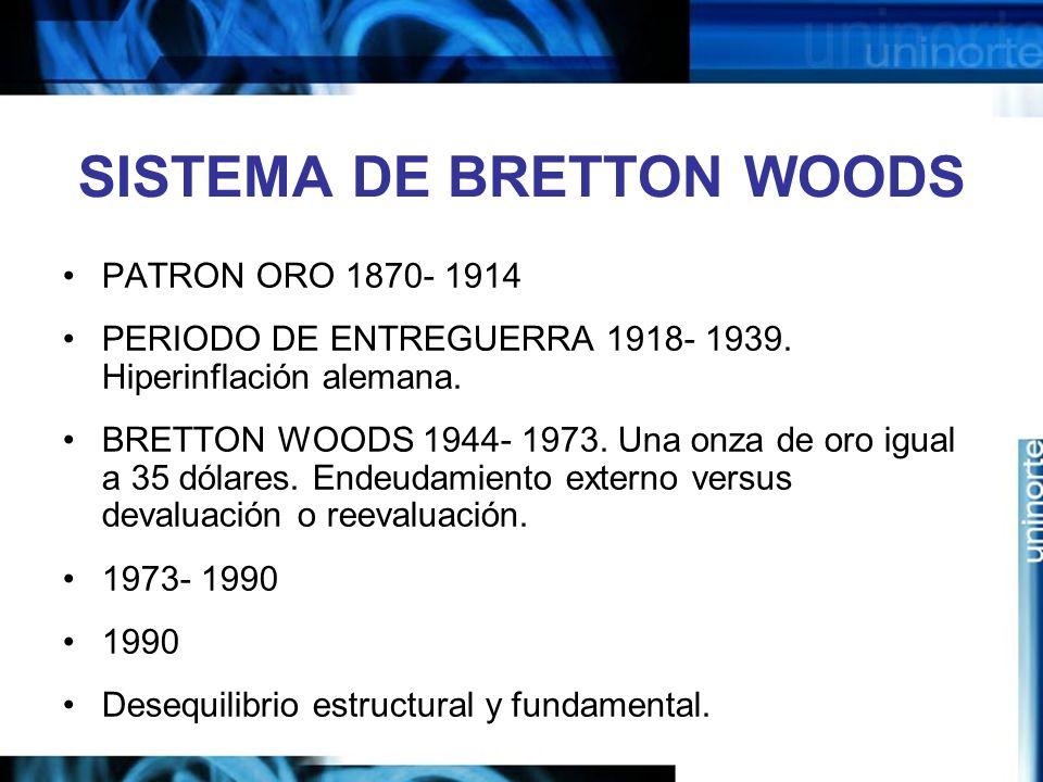 SISTEMA DE BRETTON WOODS PATRON ORO 1870- 1914 PERIODO DE ENTREGUERRA 1918- 1939. Hiperinflación alemana. BRETTON WOODS 1944- 1973. Una onza de oro ig