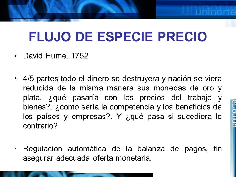 FLUJO DE ESPECIE PRECIO David Hume. 1752 4/5 partes todo el dinero se destruyera y nación se viera reducida de la misma manera sus monedas de oro y pl
