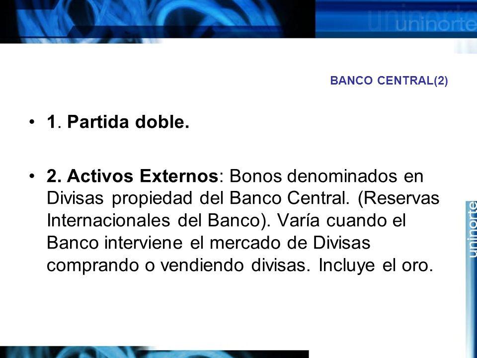 BANCO CENTRAL(2) 1. Partida doble. 2. Activos Externos: Bonos denominados en Divisas propiedad del Banco Central. (Reservas Internacionales del Banco)