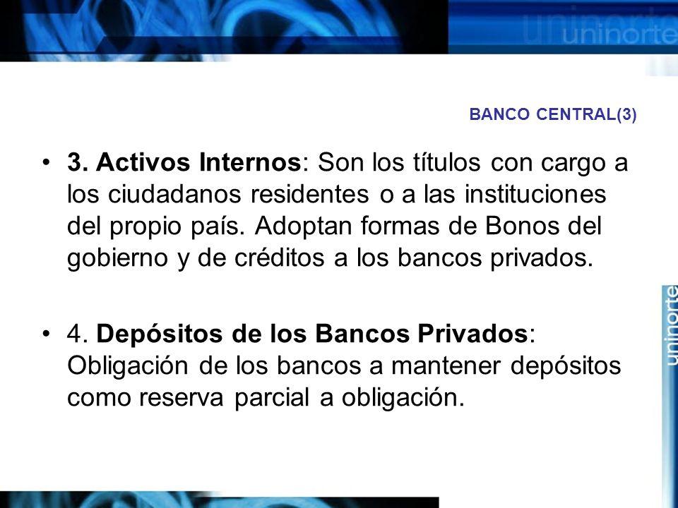 BANCO CENTRAL(3) 3. Activos Internos: Son los títulos con cargo a los ciudadanos residentes o a las instituciones del propio país. Adoptan formas de B