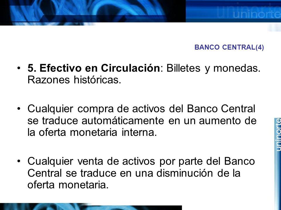 BANCO CENTRAL(4) 5. Efectivo en Circulación: Billetes y monedas. Razones históricas. Cualquier compra de activos del Banco Central se traduce automáti