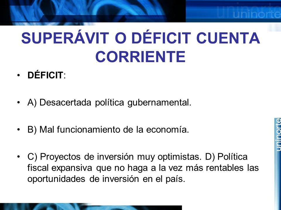 SUPERÁVIT O DÉFICIT CUENTA CORRIENTE DÉFICIT: A) Desacertada política gubernamental. B) Mal funcionamiento de la economía. C) Proyectos de inversión m