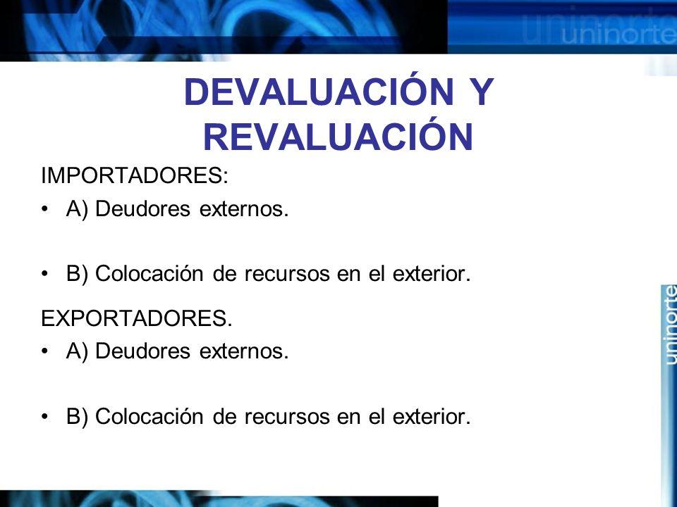 DEVALUACIÓN Y REVALUACIÓN IMPORTADORES: A) Deudores externos. B) Colocación de recursos en el exterior. EXPORTADORES. A) Deudores externos. B) Colocac