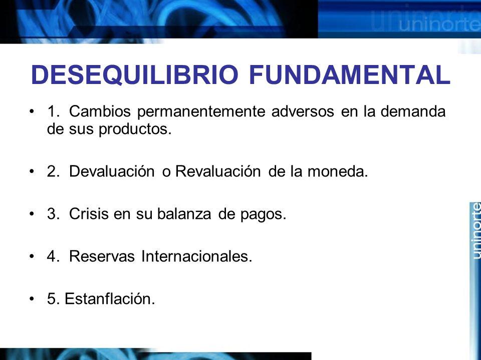DESEQUILIBRIO FUNDAMENTAL 1. Cambios permanentemente adversos en la demanda de sus productos. 2. Devaluación o Revaluación de la moneda. 3. Crisis en