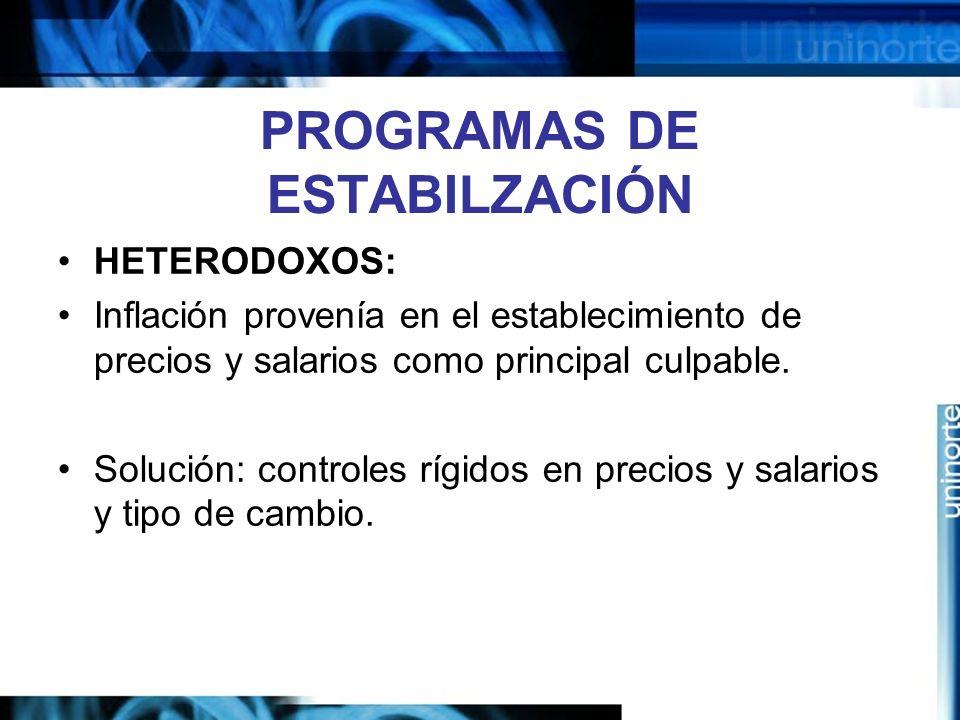 PROGRAMAS DE ESTABILZACIÓN HETERODOXOS: Inflación provenía en el establecimiento de precios y salarios como principal culpable. Solución: controles rí