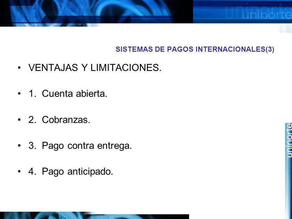 SISTEMAS DE PAGOS INTERNACIONALES(3) VENTAJAS Y LIMITACIONES. 1. Cuenta abierta. 2. Cobranzas. 3. Pago contra entrega. 4. Pago anticipado.