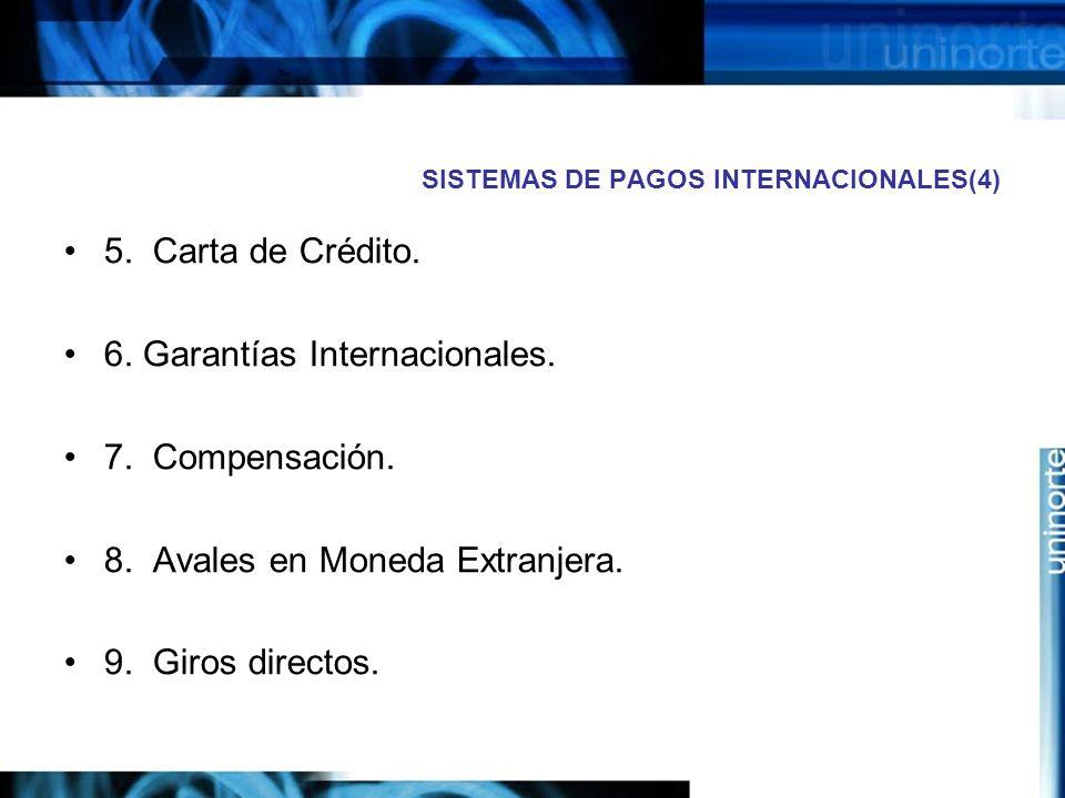 SISTEMAS DE PAGOS INTERNACIONALES(4) 5. Carta de Crédito. 6. Garantías Internacionales. 7. Compensación. 8. Avales en Moneda Extranjera. 9. Giros dire