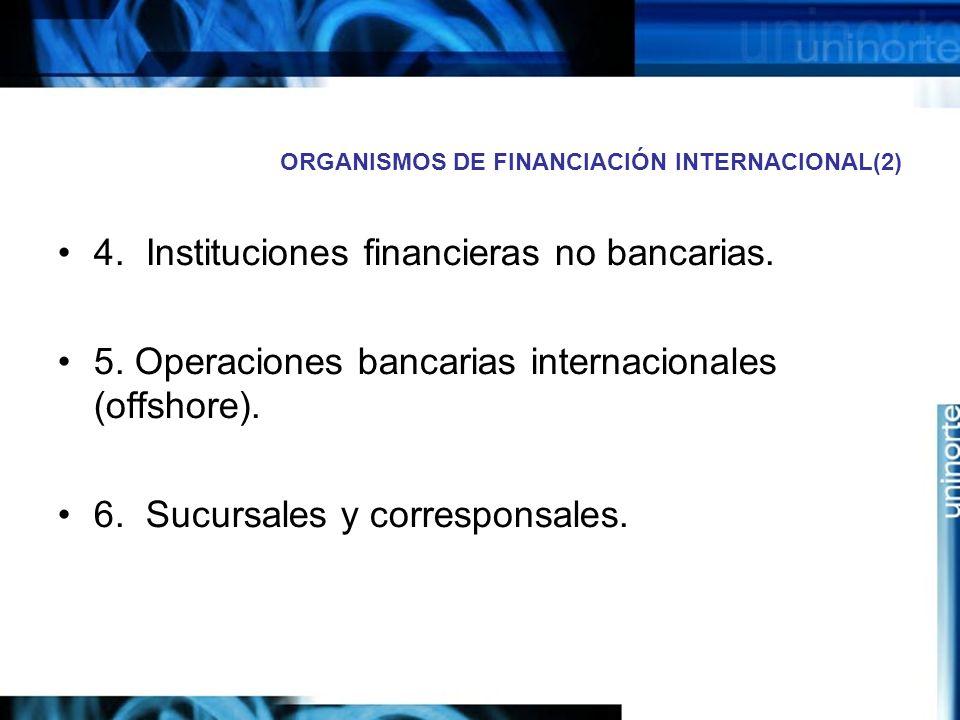 ORGANISMOS DE FINANCIACIÓN INTERNACIONAL(2) 4. Instituciones financieras no bancarias. 5. Operaciones bancarias internacionales (offshore). 6. Sucursa