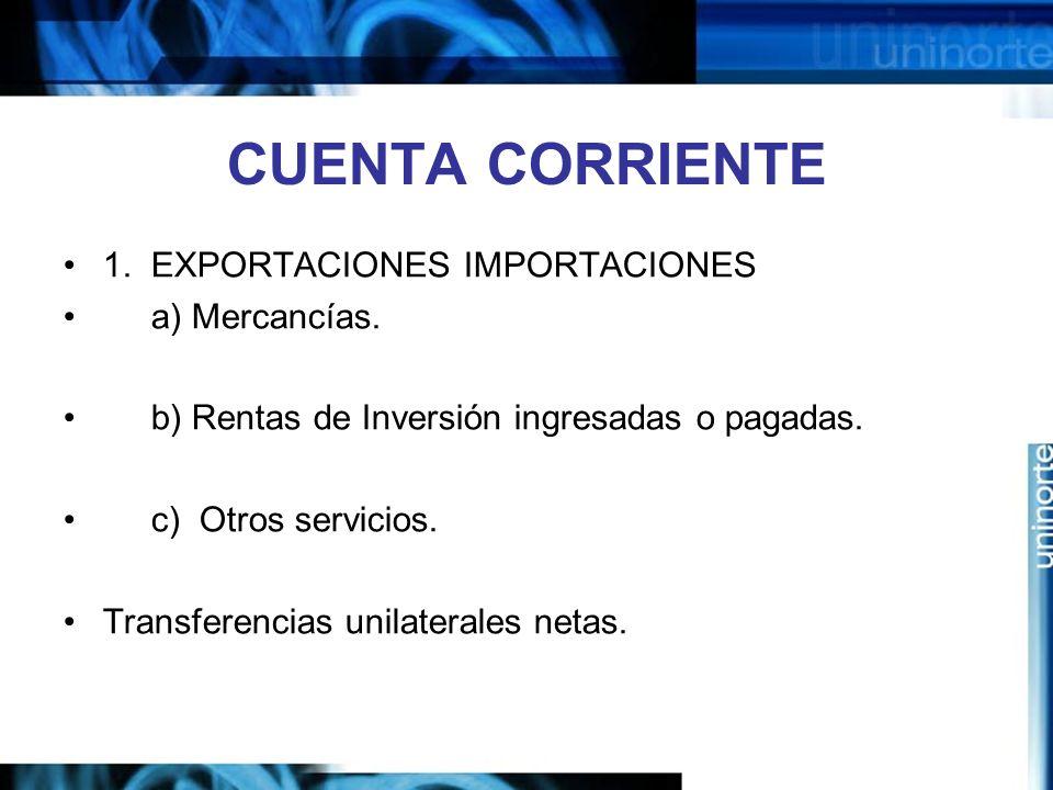 CUENTA CORRIENTE 1. EXPORTACIONES IMPORTACIONES a) Mercancías. b) Rentas de Inversión ingresadas o pagadas. c) Otros servicios. Transferencias unilate