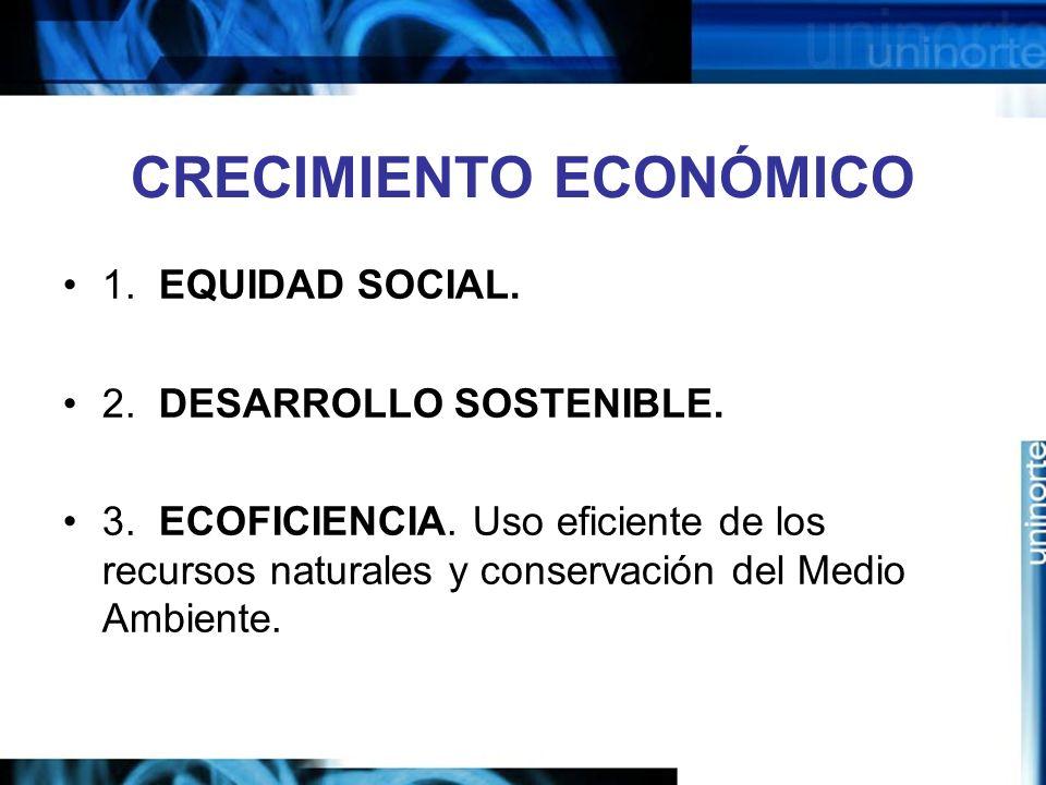 CRECIMIENTO ECONÓMICO 1. EQUIDAD SOCIAL. 2. DESARROLLO SOSTENIBLE. 3. ECOFICIENCIA. Uso eficiente de los recursos naturales y conservación del Medio A