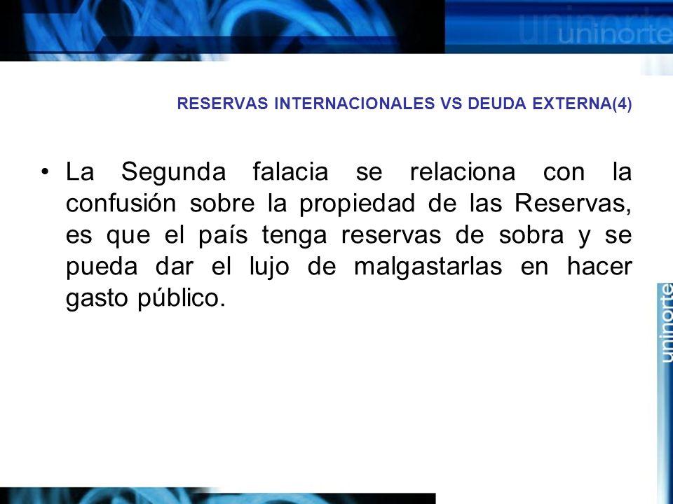 RESERVAS INTERNACIONALES VS DEUDA EXTERNA(4) La Segunda falacia se relaciona con la confusión sobre la propiedad de las Reservas, es que el país tenga