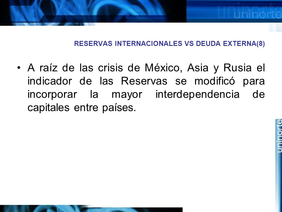 RESERVAS INTERNACIONALES VS DEUDA EXTERNA(8) A raíz de las crisis de México, Asia y Rusia el indicador de las Reservas se modificó para incorporar la
