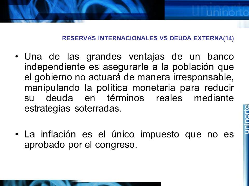 RESERVAS INTERNACIONALES VS DEUDA EXTERNA(14) Una de las grandes ventajas de un banco independiente es asegurarle a la población que el gobierno no ac