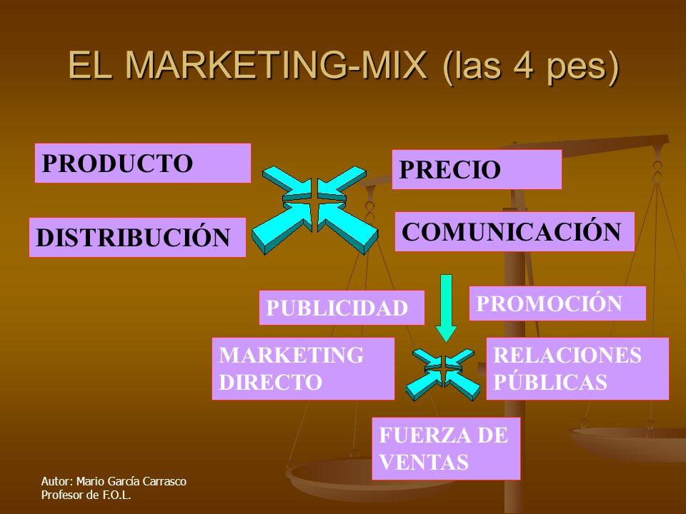 Autor: Mario García Carrasco Profesor de F.O.L. EL MARKETING-MIX (las 4 pes) PRODUCTO DISTRIBUCIÓN PRECIO COMUNICACIÓN PUBLICIDAD PROMOCIÓN RELACIONES