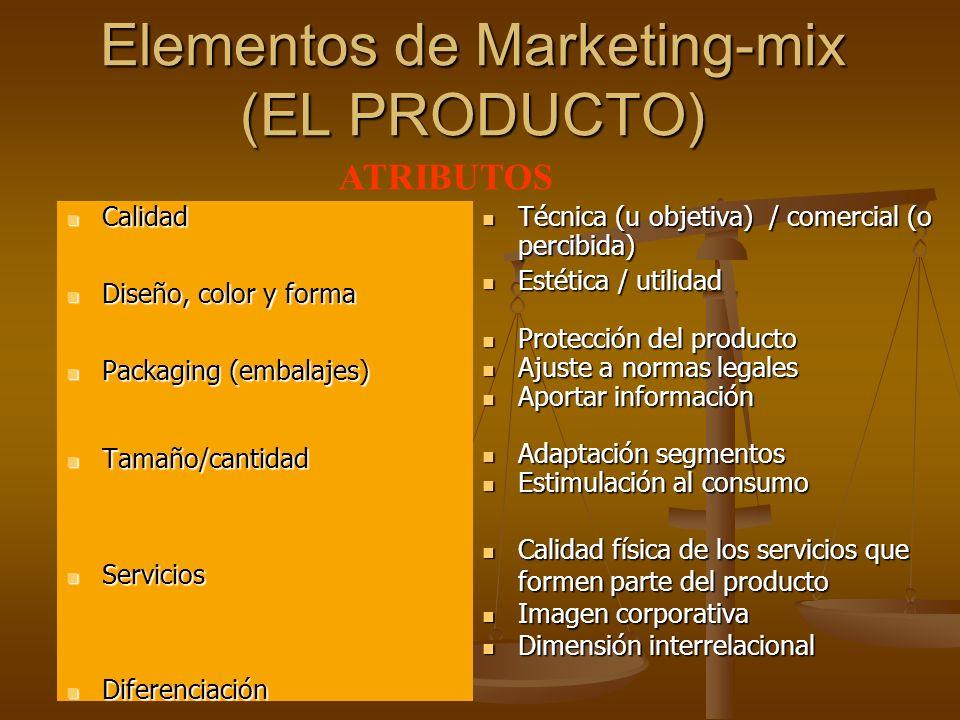 Autor: Mario García Carrasco Profesor de F.O.L. Elementos de Marketing-mix (EL PRODUCTO) Calidad Calidad Diseño, color y forma Diseño, color y forma P