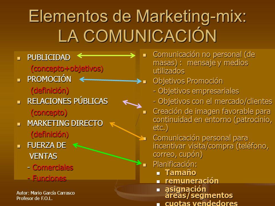 Autor: Mario García Carrasco Profesor de F.O.L. Elementos de Marketing-mix: LA COMUNICACIÓN PUBLICIDAD PUBLICIDAD (concepto+objetivos ) PROMOCIÓN PROM