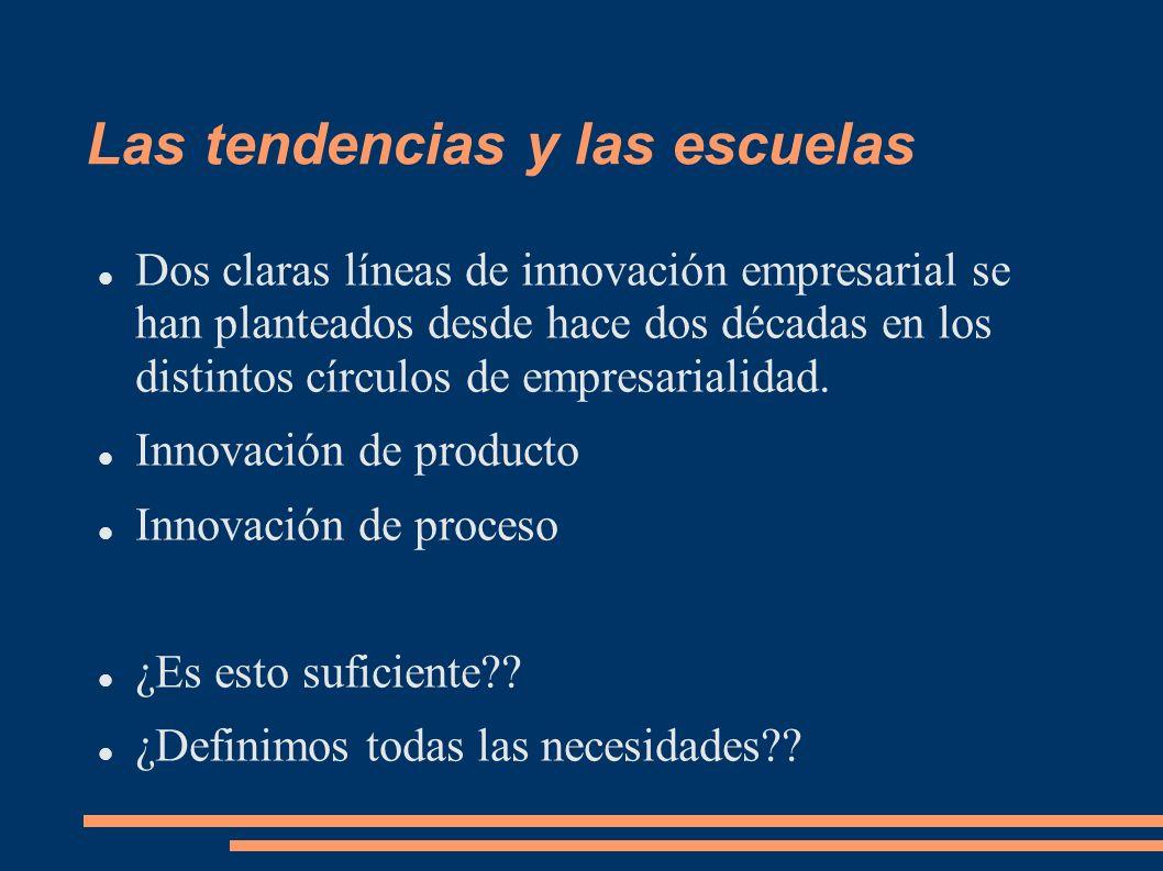 Las tendencias y las escuelas Dos claras líneas de innovación empresarial se han planteados desde hace dos décadas en los distintos círculos de empres