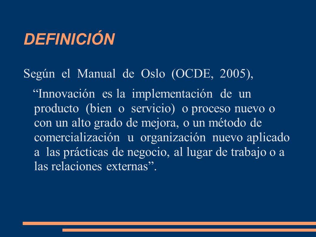 DEFINICIÓN Según el Manual de Oslo (OCDE, 2005), Innovación es la implementación de un producto (bien o servicio) o proceso nuevo o con un alto grado
