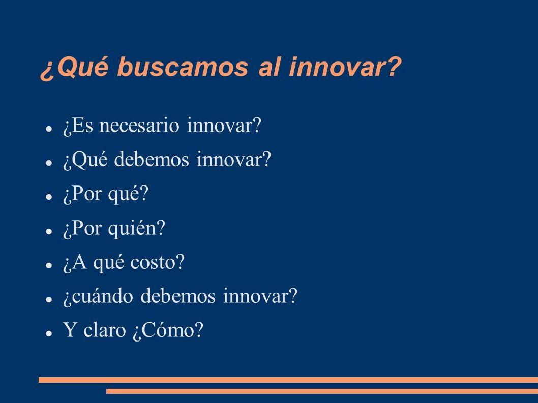 ¿Qué buscamos al innovar? ¿Es necesario innovar? ¿Qué debemos innovar? ¿Por qué? ¿Por quién? ¿A qué costo? ¿cuándo debemos innovar? Y claro ¿Cómo?