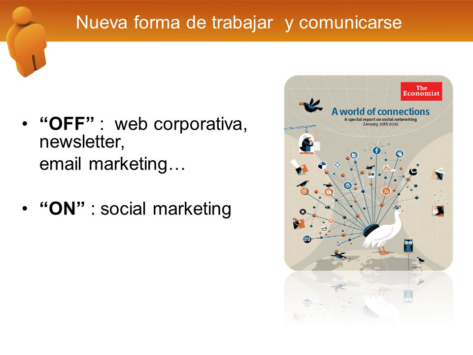 Nueva forma de trabajar y comunicarse OFF : web corporativa, newsletter, email marketing… ON : social marketing