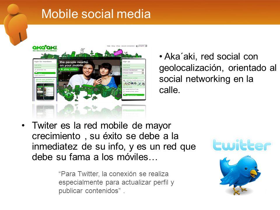 Mobile social media Para Twitter, la conexión se realiza especialmente para actualizar perfil y publicar contenidos.