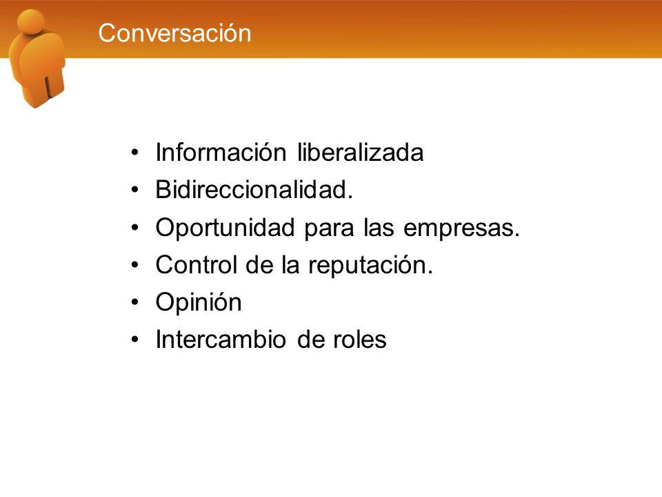 Conversación Información liberalizada Bidireccionalidad. Oportunidad para las empresas. Control de la reputación. Opinión Intercambio de roles
