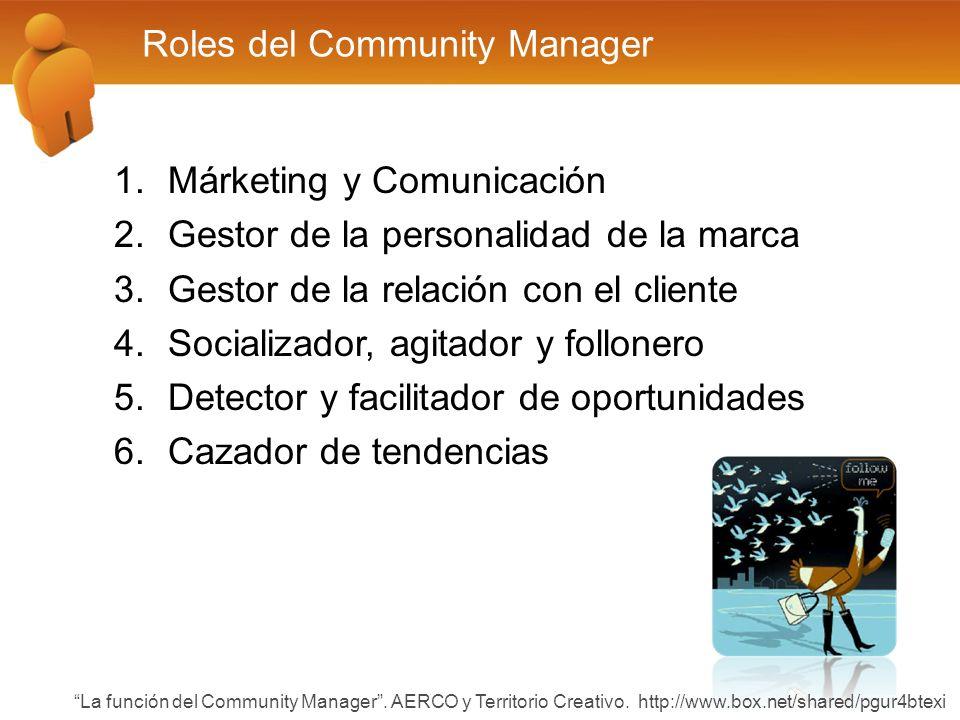 Roles del Community Manager 1.Márketing y Comunicación 2.Gestor de la personalidad de la marca 3.Gestor de la relación con el cliente 4.Socializador, agitador y follonero 5.Detector y facilitador de oportunidades 6.Cazador de tendencias La función del Community Manager.