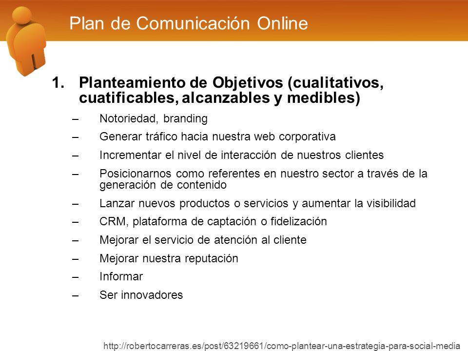 1.Planteamiento de Objetivos (cualitativos, cuatificables, alcanzables y medibles) –Notoriedad, branding –Generar tráfico hacia nuestra web corporativ