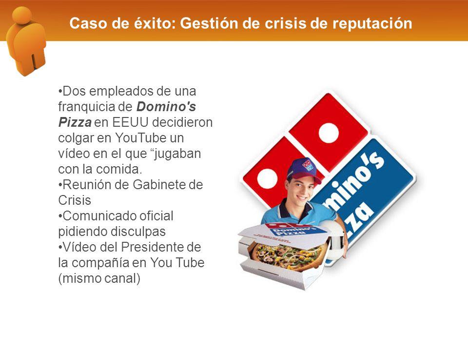 Caso de éxito: Gestión de crisis de reputación Dos empleados de una franquicia de Domino s Pizza en EEUU decidieron colgar en YouTube un vídeo en el que jugaban con la comida.